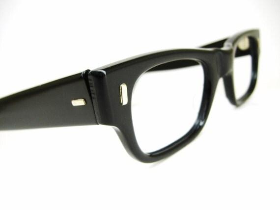 Vintage 50s Thick Black Nerd Glasses Eyeglasses Frame Black