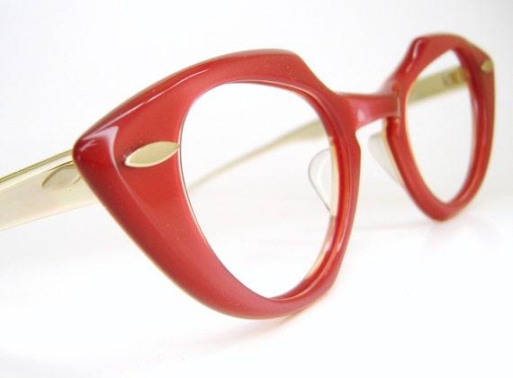 Vintage Red cat eye eyeglasses Shuron Frame