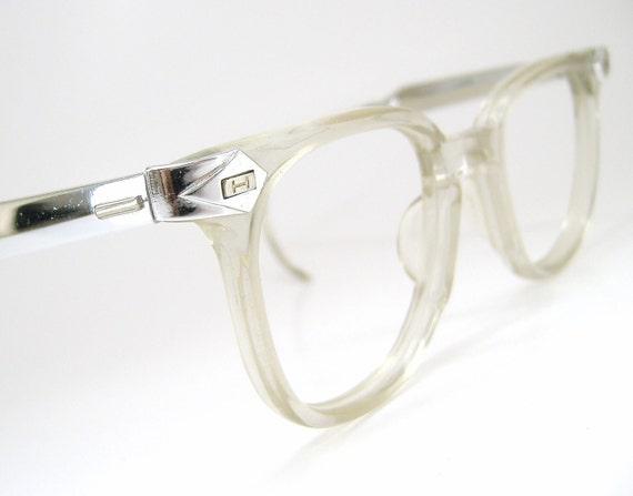 Vintage 50s Mens Horn Rim Glasses Eyeglasses Sunglasses Clear Frame