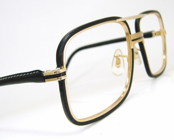 Vintage Tura Black Leather Eyewear eyeglasses by ...