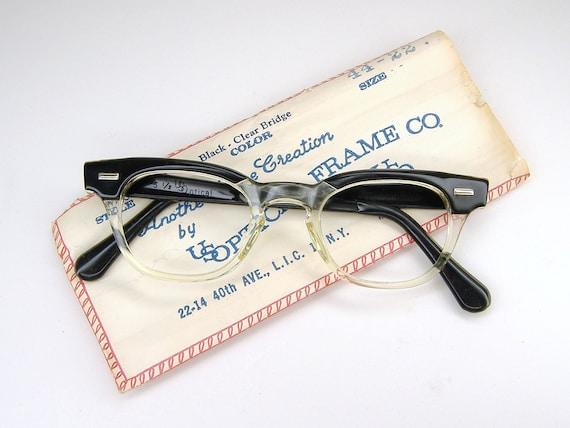 Vintage 50s Mens Black Clear Horn Rim Cat Eye Eyeglasses Frame