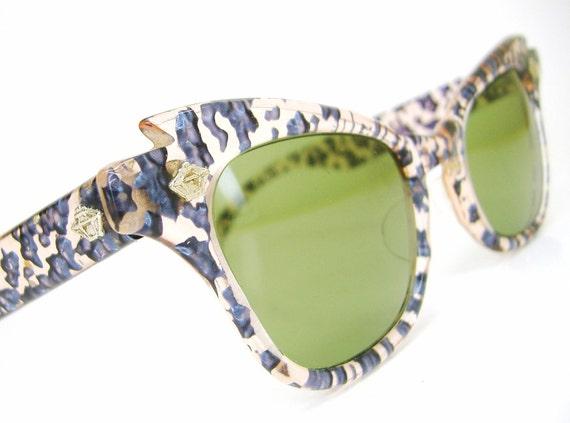Vintage 50s Cat Eye Sunglasses Very Unique Never Worn Water Splash Look Very Unique