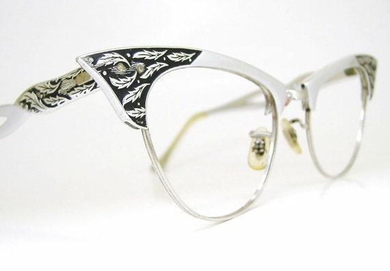 Vintage 50s Cat Eye Eyeglasses Silver Frame With Leaf Detail 12K GF