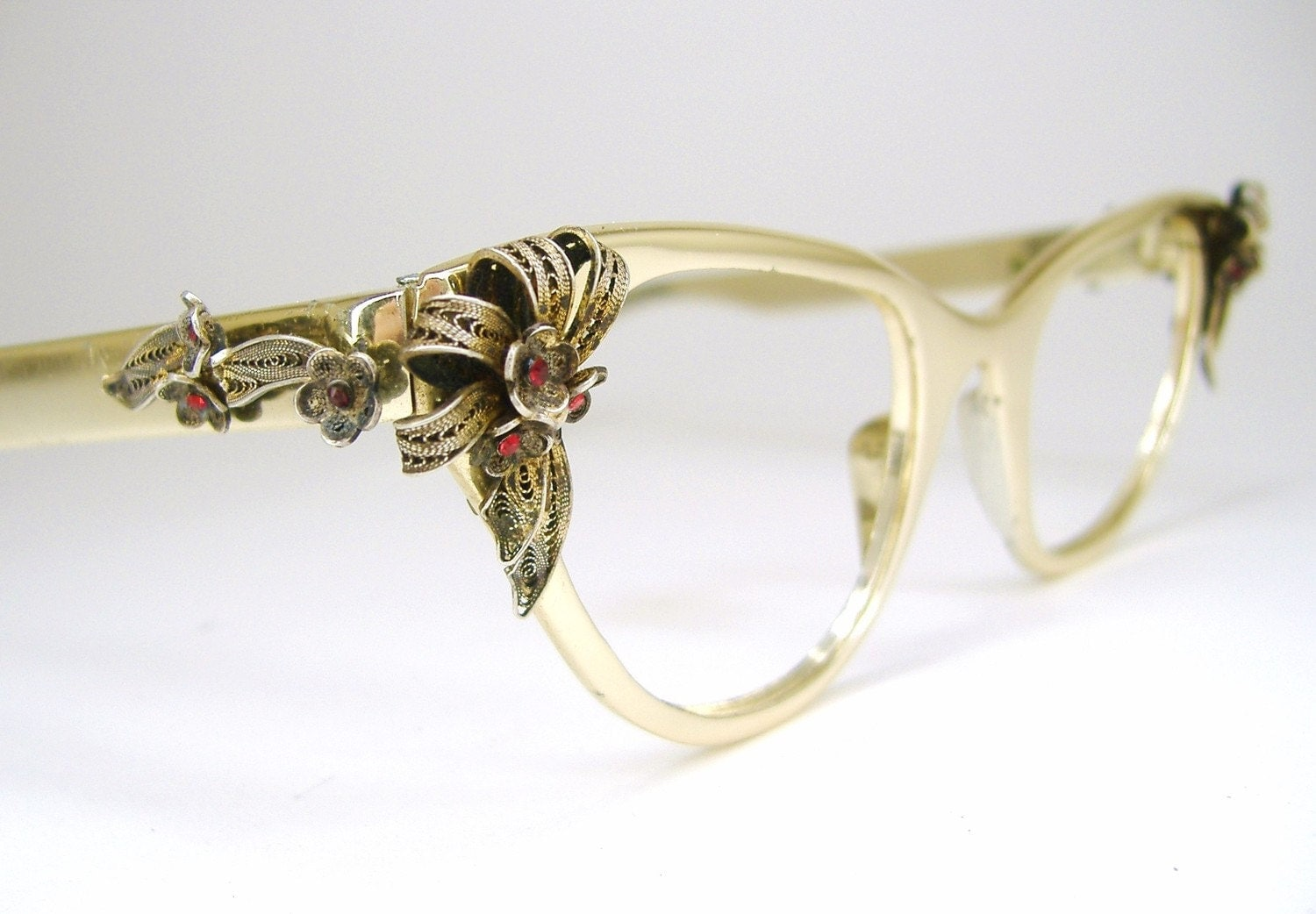 Gold Frame Vintage Glasses : Vintage Gold Tura Cat Eye Eyeglasses Eye Wear Frame with