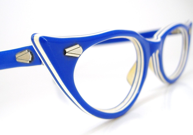 Glasses Frames Blue : Vintage 50s Sapphire Blue Cat Eye Eyeglasses Frames