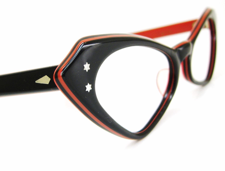 Vintage Black and Red Cat Eye Eyeglasses Frame 1950s Eyewear