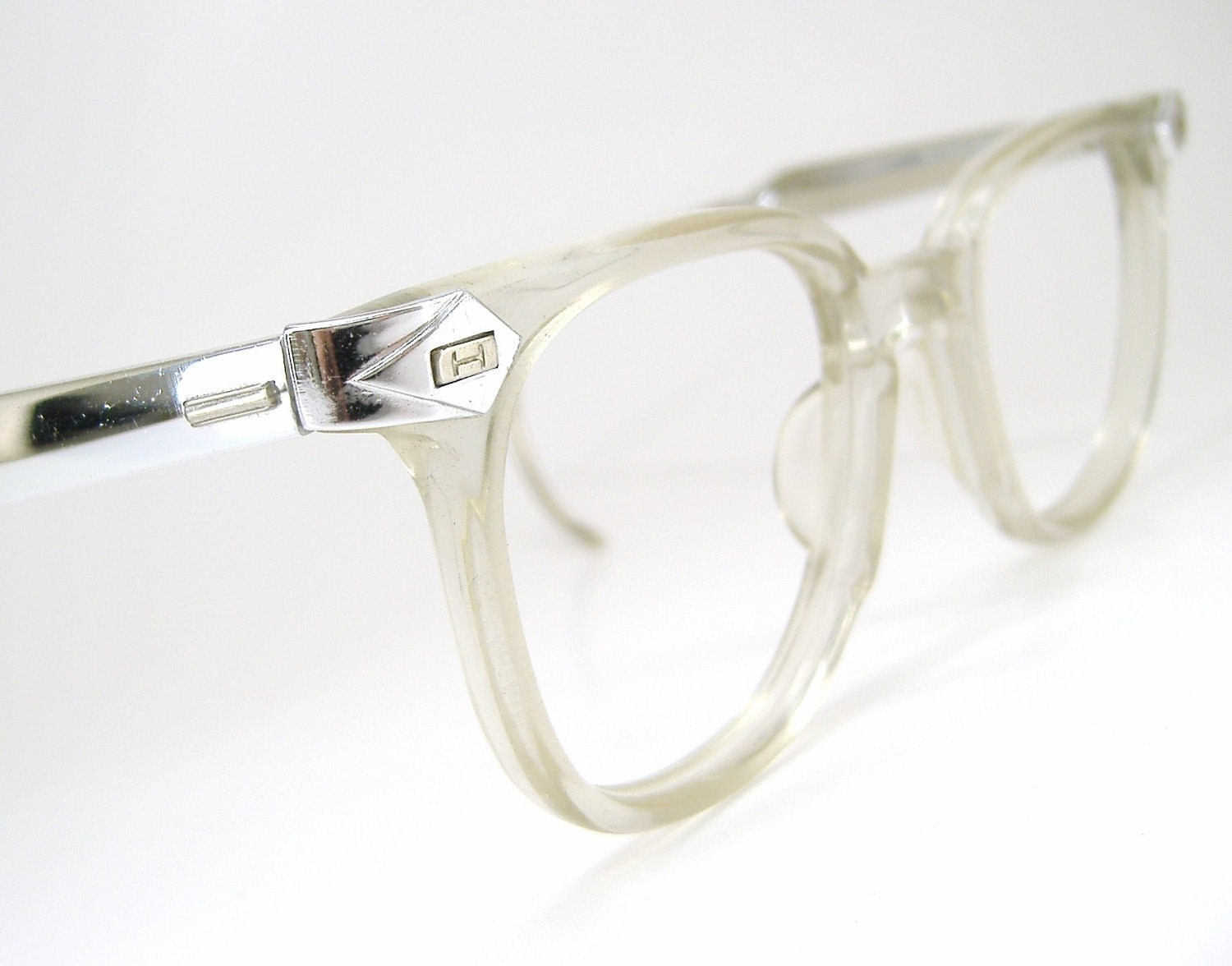 Vintage 50s Mens Horn Rim Glasses Eyeglasses Sunglasses Clear