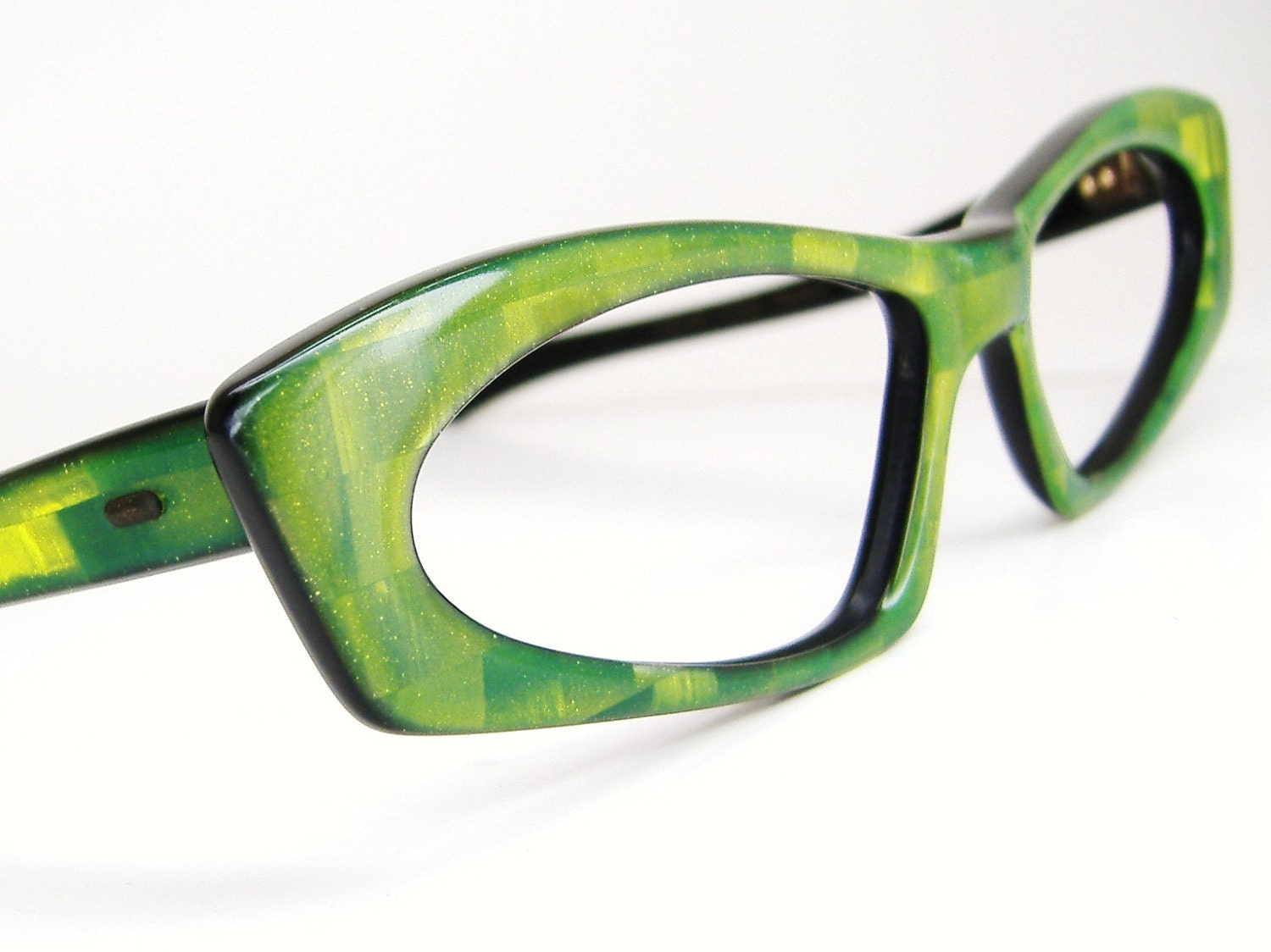 Vintage Green 1960s Cat eye Eyeglasses Sunglasses Eyewear