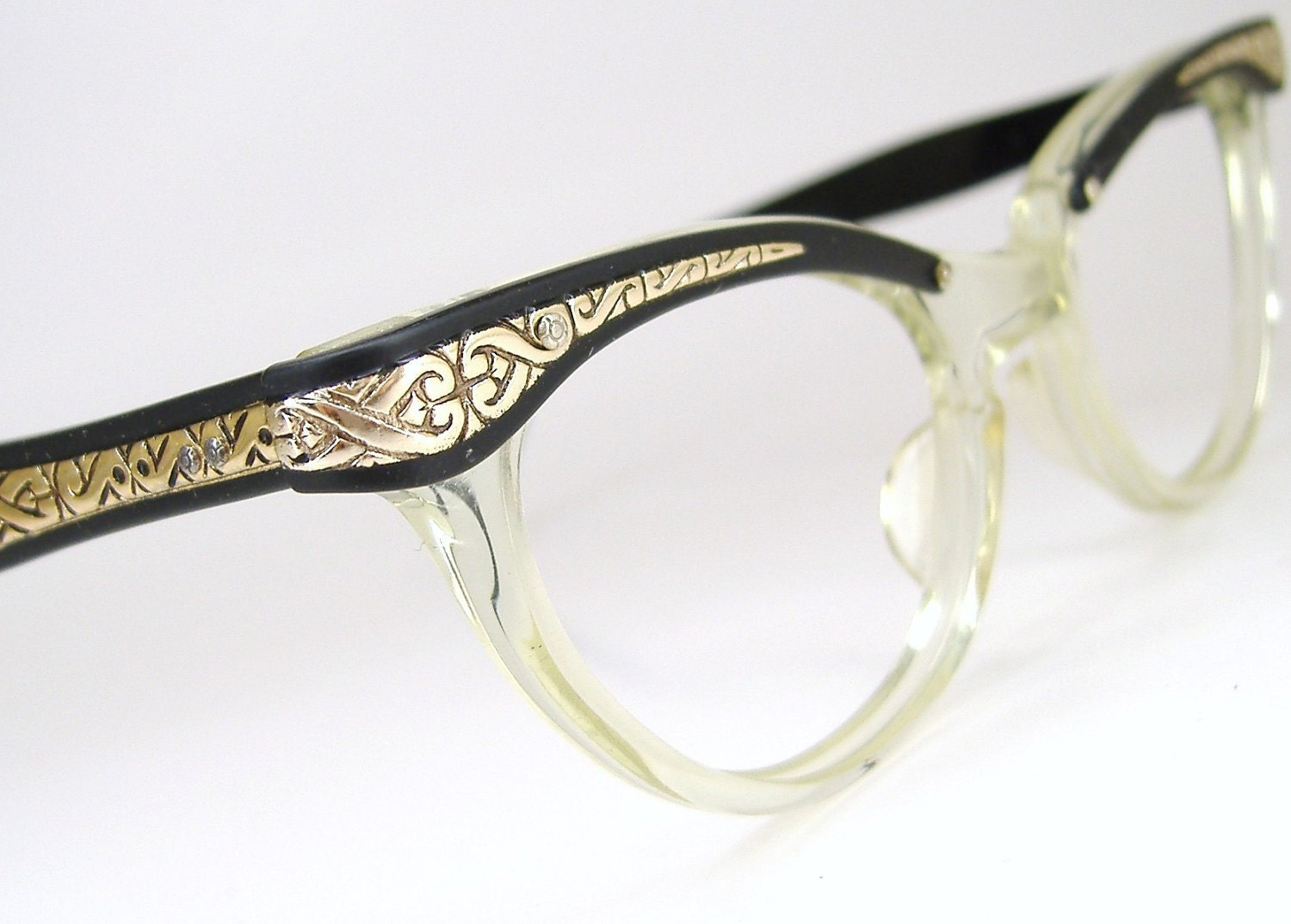 Cat Eye Frame Eye Glasses : Vintage 50s Glasses Cat Eye Eyeglasses Frame Filigree Never