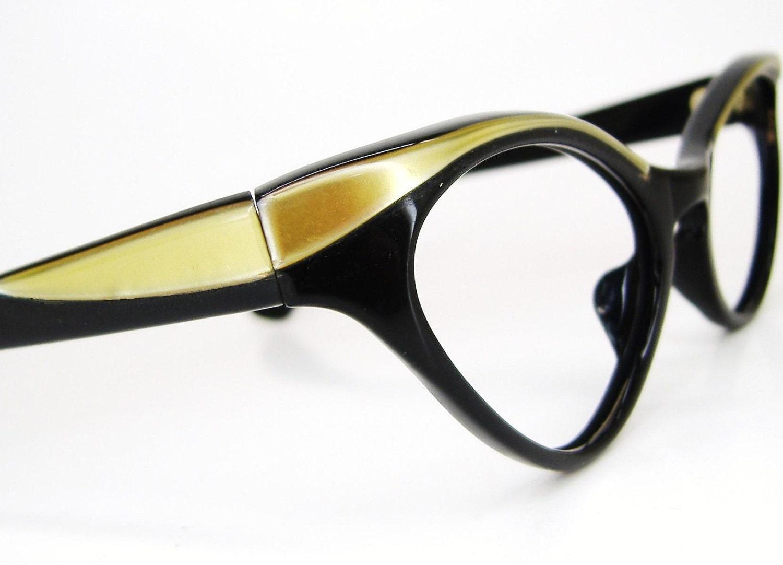 vintage 50s cat eye eyeglasses or sunglasses winged black and