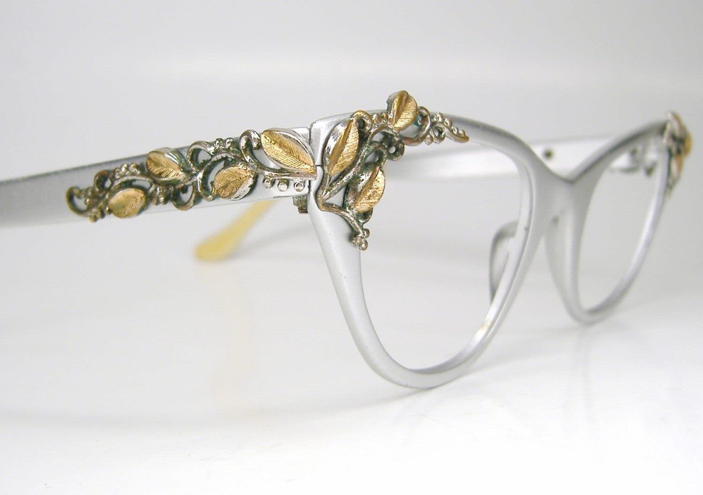 Vintage Silver Eyeglass Frames : Vintage Silver Vine Leaves Cat Eye Eyeglasses Frame
