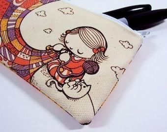 SALE - Small Knitting Girl Zipper Pouch