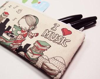 SALE - Small I Heart Music Zipper Pouch