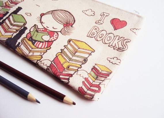 Large I Heart Books Zipper Pouch