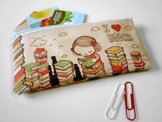 I Love Books Zipper Pouch