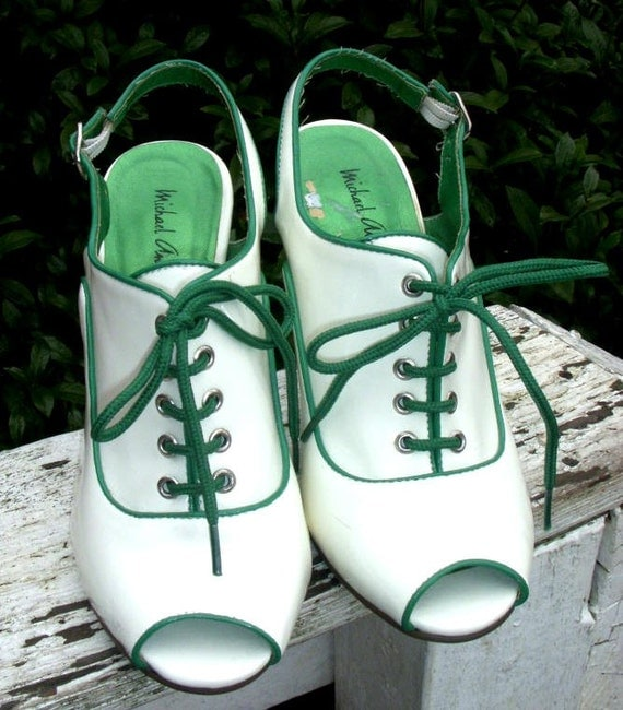 Vintage Peep Toe Funky White & Green Lace Up Heels Size 7