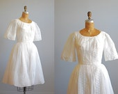 50's Angel Sleeve Embroidered Confirmation Dress