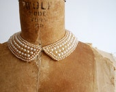 vintage 50's beaded cream pearl collar