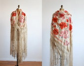 vintage piano shawl. antique embroidered . silk edwardian or victorian textile