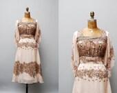 vintage 1970s dress. boho fruit print. small