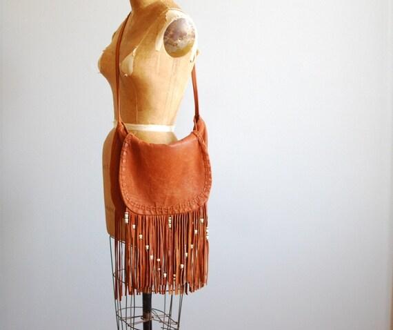 70's Huge Fringed and Beaded Deerskin Leather Shoulder Bag