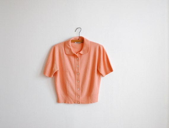 vintage 50's coral acrylic short sleeve button up cardigan