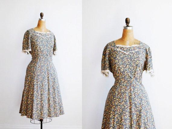 vintage 1940s dress // plus size floral cotton XXL 1X