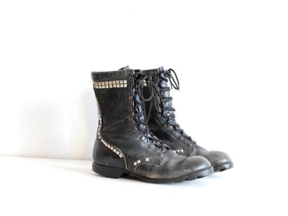 vintage studded combat boots // punk rock leather lace up