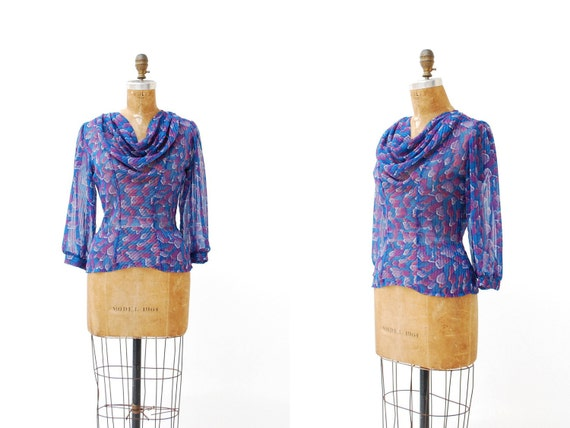 sheer blouse. cowl neck. 1980s. small