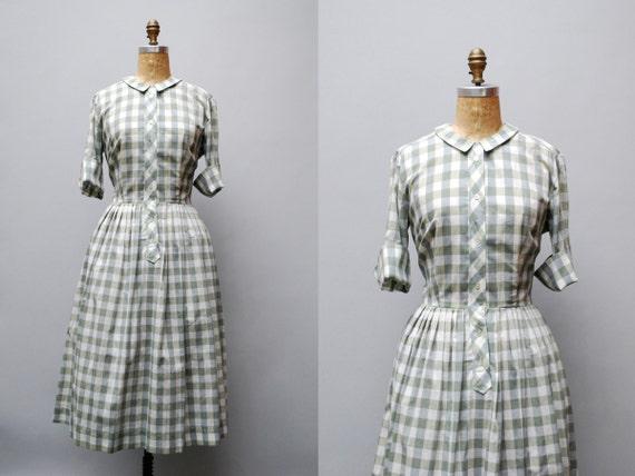 vintage 1950s dress. plaid shirtwaist. tall size large xl