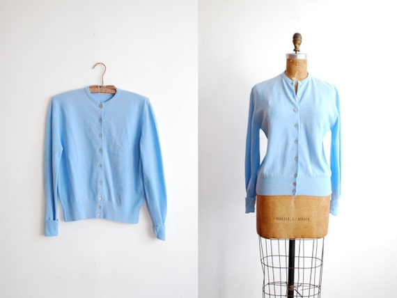 vintage 1950s cardigan. 50s sweater. unworn. blue. large
