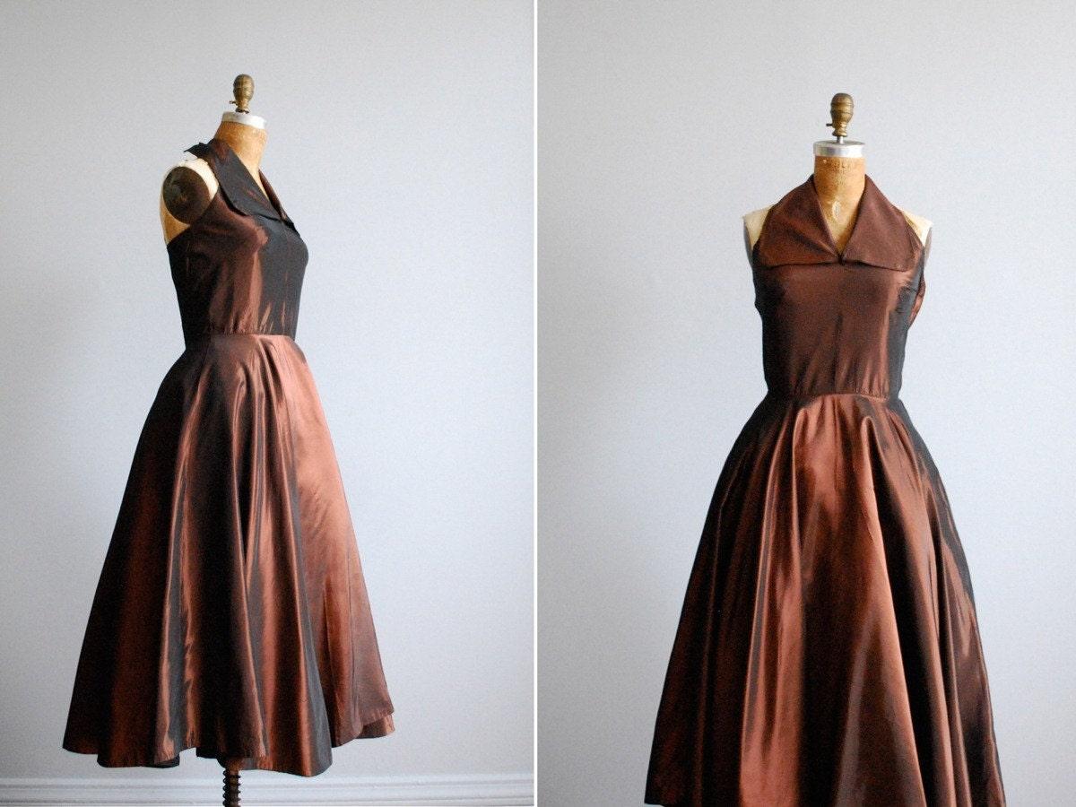 Vintage 1950s Dress // Halter Full Skirt Cocktail Party Bronze