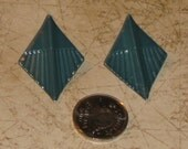 Teal Diamond Shaped Earrings