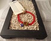 Beaded hand of fatima/hamsa/evil eye bracelet Red