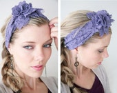 Lavender Lace headband by Vintage Pearl, stretch lace lavender headband wrap, flower, shabby chic accessory, photo prop, women, girls