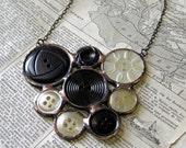 Midnight Vintage Button Bib Necklace