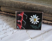 Vintage Crazy Quilt Pin/Brooch with Painted Daisy