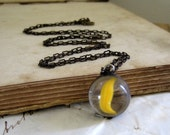 Yellow Slice Vintage Glass Marble Necklace
