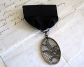 Mysterious Black Lace Medal Lapel Pin