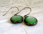 Citrus Frost Vintage Glass Button Earrings Jewelry