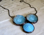 Blue Skies Glass Button Bib Necklace