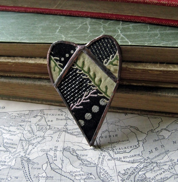Midnight in the Garden Crazy Quilt Pin/Brooch