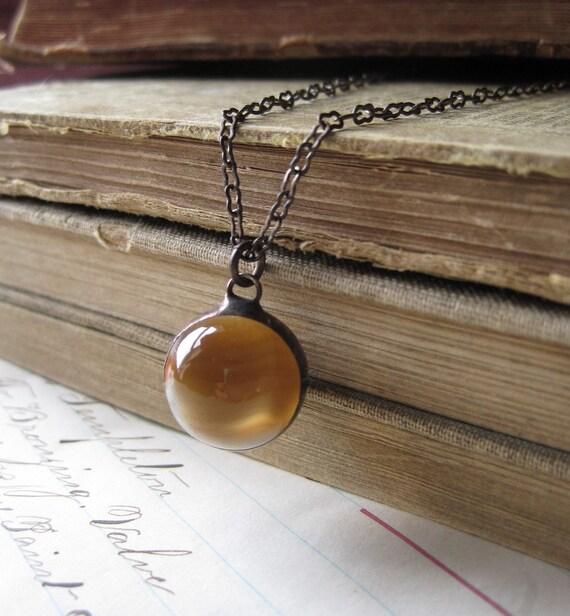 Caramel Twist  Vintage Marble Necklace