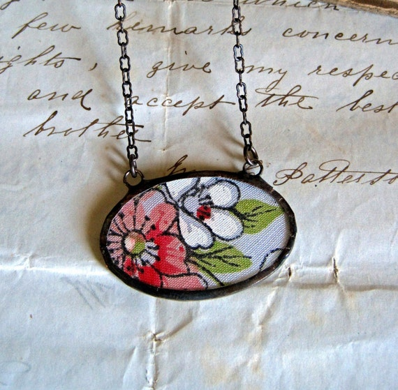 Flower  Vintage Hanky Necklace