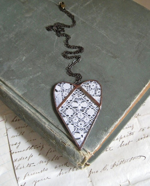 With Love  Lace Heart Necklace