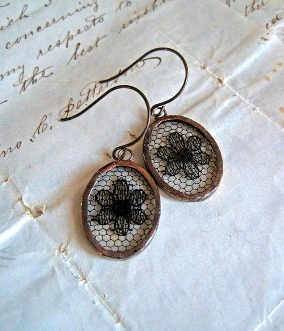 Vintage Black Lace Oval Earrings