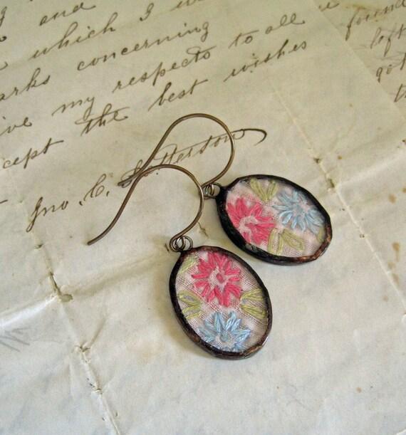 Embroidery Fiber Art Earrings
