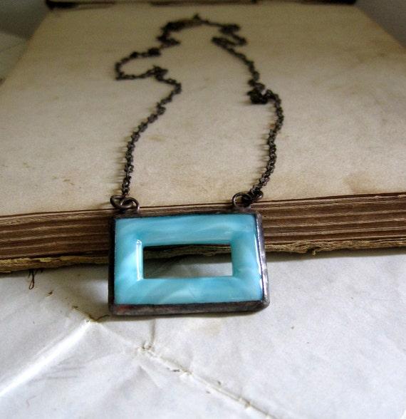 Simple Rectangle Vintage Glass Buckle Necklace