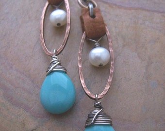 Turquoise Earrings, Perfect Summertime Earrings, Mixed Metals Earrings with Leather,Turquoise Drop Earrings