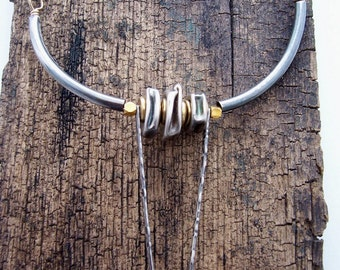 Texas Long Horn,  Statement Necklace, Sterling Silver and Gold filled Necklace, Mixed Metals Necklace.